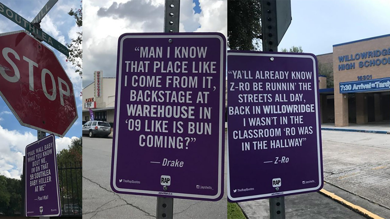 Famous rap lyric signs popping up all over Houston - DefenderNetwork com