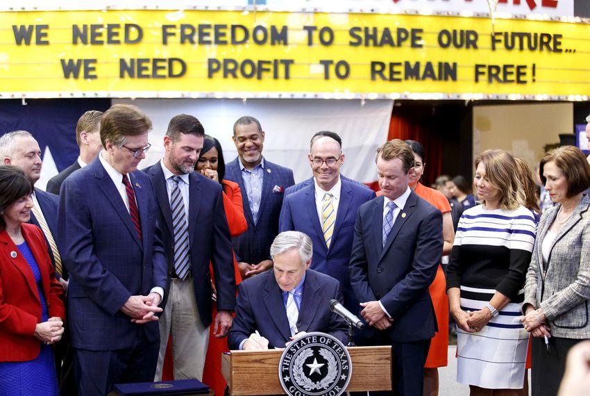 Gov. Greg Abbott signs disaster relief and preparedness bills in Houston