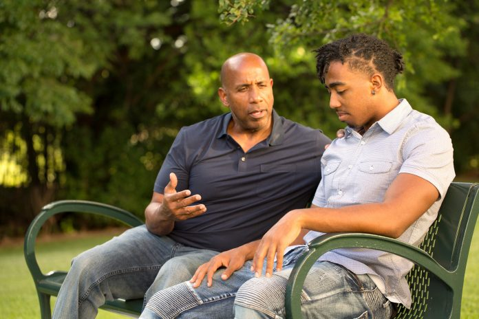 African American father and his son.