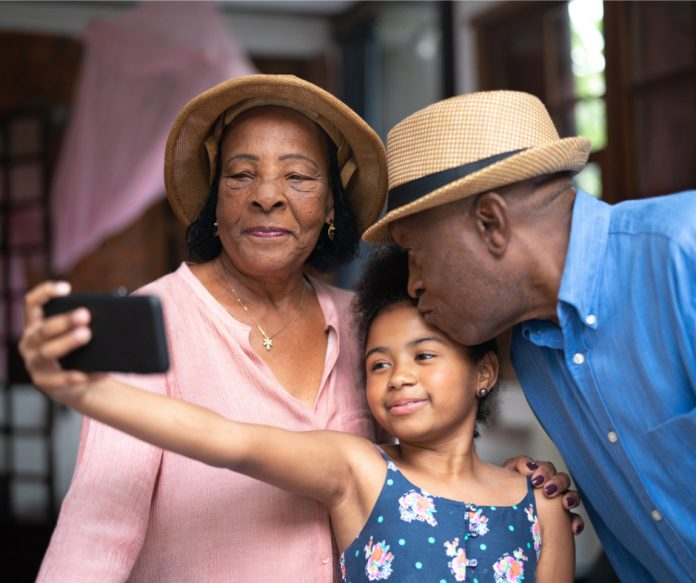 Grandparents travel with grand-daughter